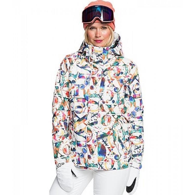 Roxy dámska lyžiarska/snowboardová bunda Jetty erjtj03280 magic carpet biela potlač